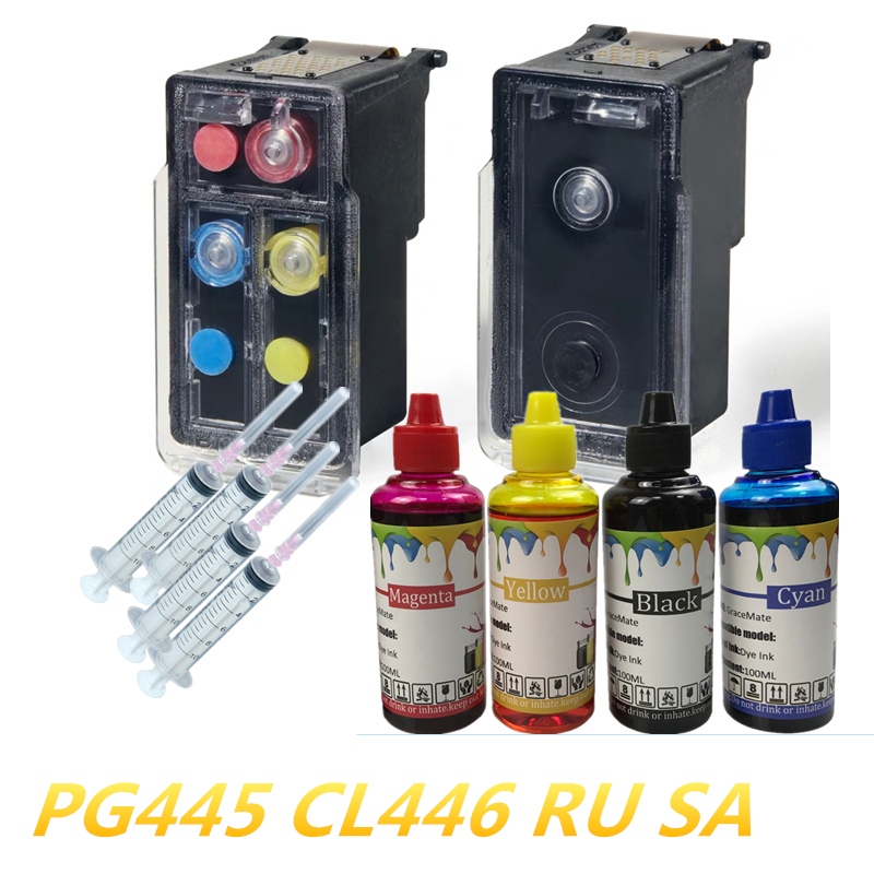 PG445 CL446 Refillable Cartridge ink with 400ML printer ink Compatible For <font><b>Canon</b></font> MX494 MG 2440 MG2540 MG2940 MG2540S <font><b>TS3140</b></font> image