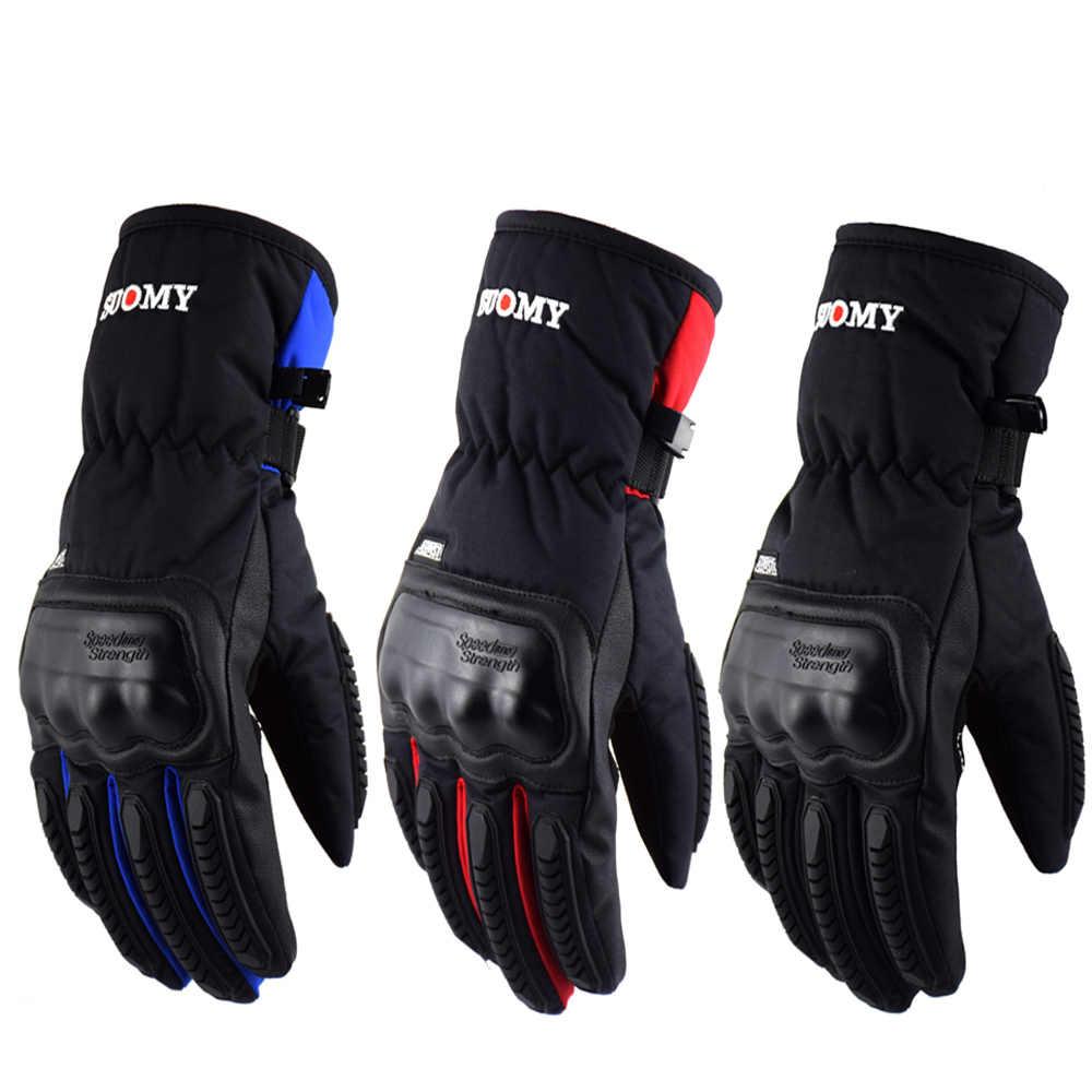 Nouveau chaud 100% gants imperméables moto protection ATV équitation hiver noir en cuir véritable gant