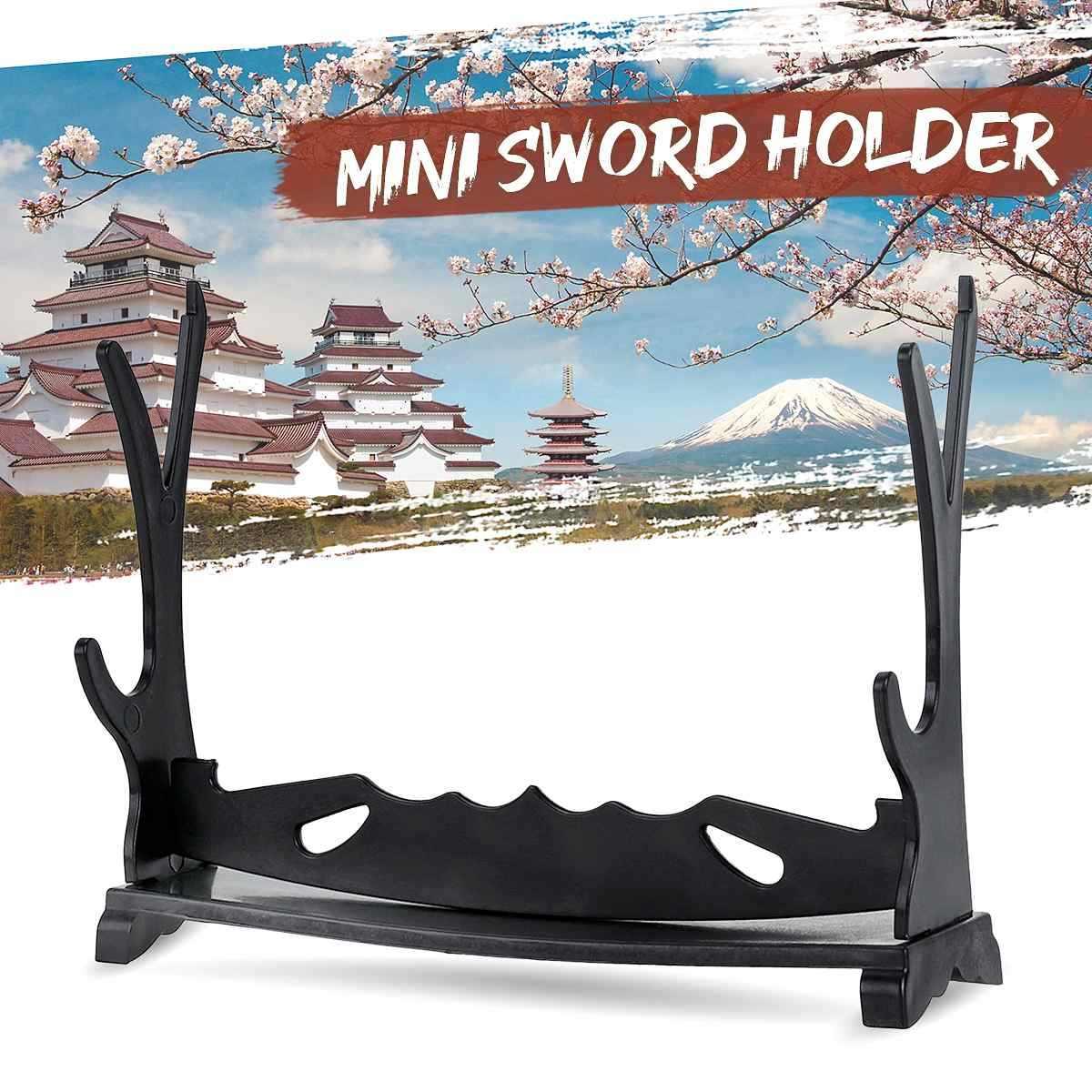 1pc Mini uchwyt ścienny miecz samuraja uchwyt Katana stojak uchwyt z wieszakiem haczyki podstawa akcesoria do dekoracji wnętrz rzemiosło