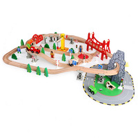 Wooden Track Train Set Toy Railway Busy City Train Set Educational Toys for Kids 100PCS track toy