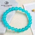 JD 4 6 8 10 12 мм Амазонит синий цвет высокое качество Халцедон Браслет круглые свободные каменные бусины, ювелирные изделия оптом
