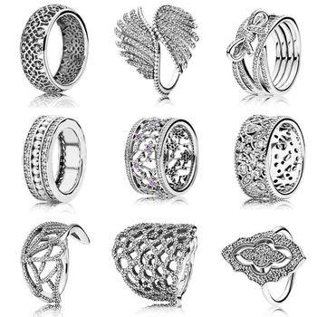 Entrelazados flor encaje clásico plumas majestuosas olvidar no-me-Flor con anillo de cristal de Plata de Ley 925 de la joyería de DIY