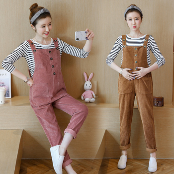 Autumn Winter Korean Fashion Corduroy Maternity Bib Pants Jumpsuits Clothes for Pregnant Women Loose Pregnancy Overalls 2018 summer ripped hole pockets maternity overalls loose adjustable bib pants clothes for pregnant women pregnancy jeans jumpsui