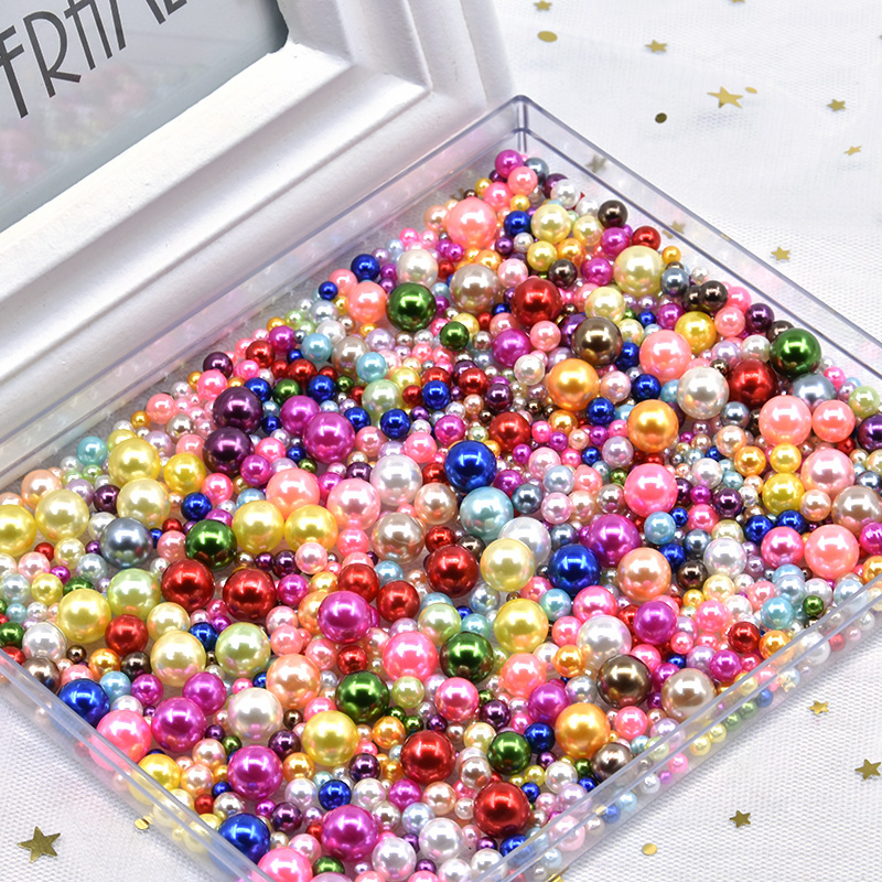 Mix Size 3-10mm No Hole Colorful Pearls Round ABS Imitation Pearl Bead Handmade DIY Necklace Bracelet Jewelry Making Accessories(China)