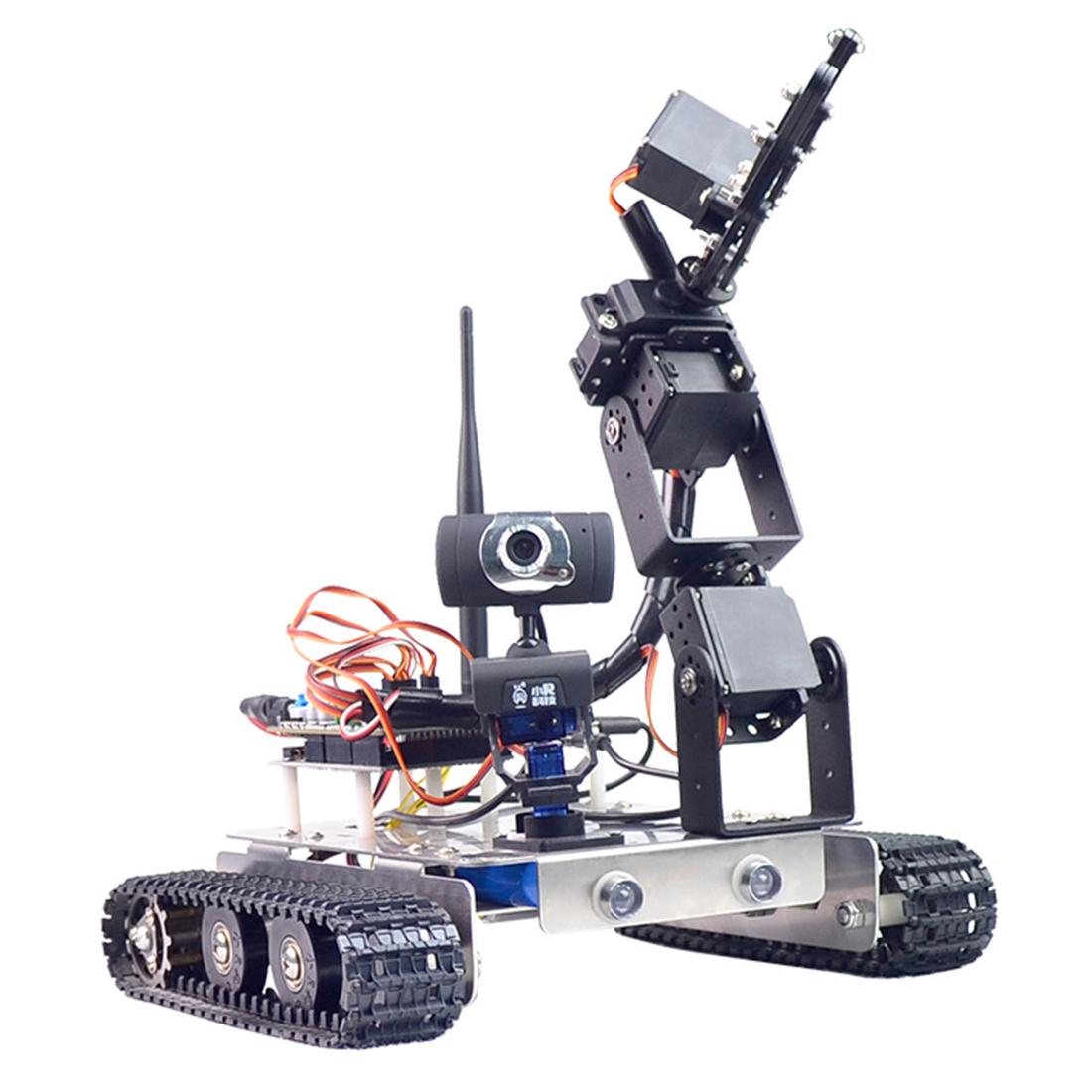 Programmable Robot DIY Wifi + Bluetooth Stainless Steel Chassis Track Tank Steam Educational Car with Arm for Raspberry Pi 3B+ 2