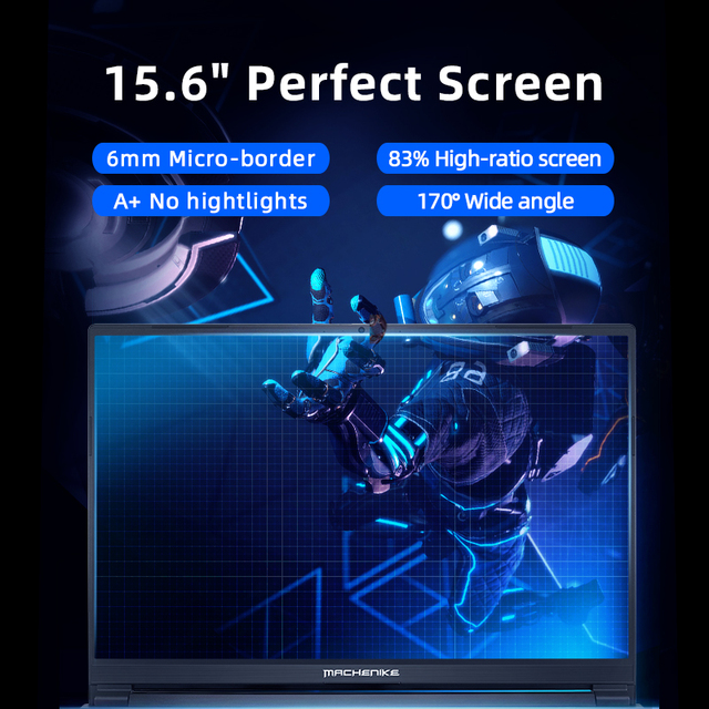 Machenike T90 Newest Gaming laptop i7 10750H GTX1650 Computer Laptops 16GB RAM 512G SSD 1T HDD 15.6'' 6mm Border IPS Notebook 4
