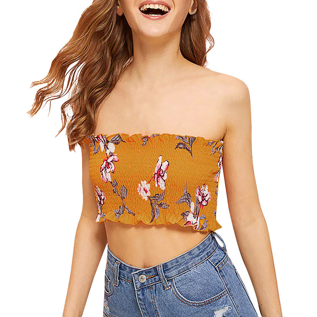 Women Summer Strapless Tube Tank Top Sexy Plain Floral Printed Bodycon Bandeau Backless Mini Bustier Off Shoulder Ruffles Ruched