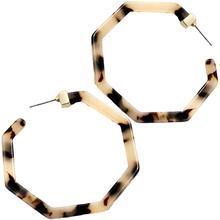 1 Pair Women Leopard Print Earrings Polygonal Tortoise Shell Acrylic Geometric Unique Fashion Ear Stud