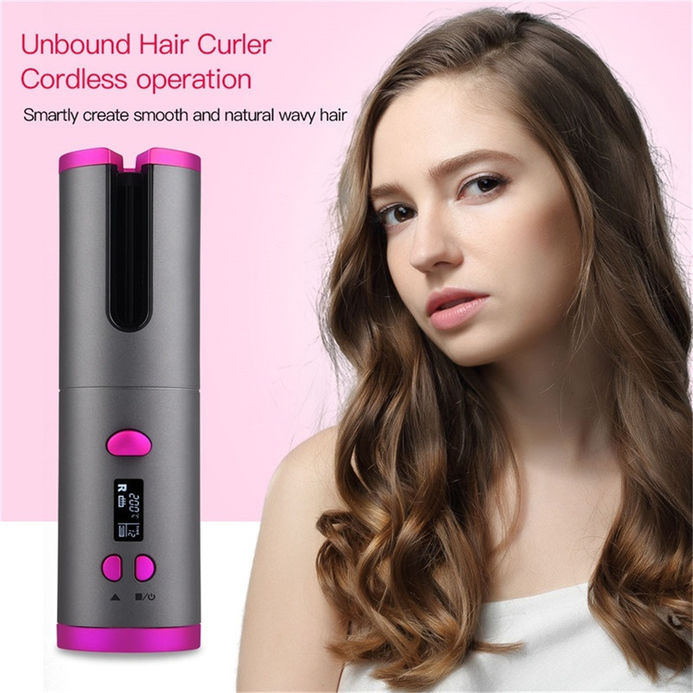 Portable USB Cordless Automatic Hair Curler Rechargeable Auto Curling Iron for Curls or Waves Intelligent Cordless Curling Iron