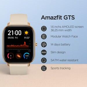 Image 3 - הגלובלי גרסה Amazfit GTS חכם שעון 5ATM עמיד למים Smartwatch 14 ימים סוללה GPS מוסיקה בקרת עור הסיליקון רצועה