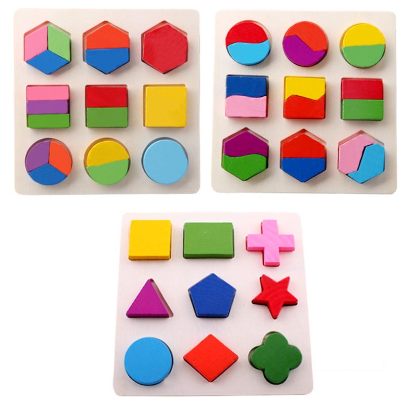 Wooden Geometric Shapes Montessori Puzzle Sorter Toy Math Bricks Preschool Learning Educational Game Baby Toys For Children
