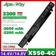 Apexway A41-X550A A41-X550 Bateria Para Asus A450 X550L A550 a41 x550a F550 F552 X450 X550 X550A X550CA X550C K550 P450 P550 R409