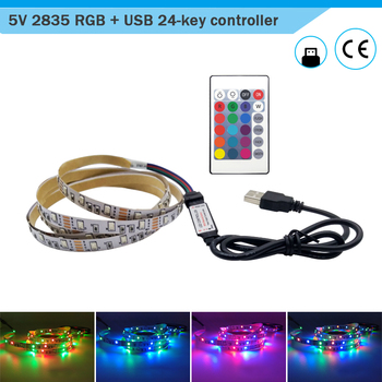 USB LED Controller Non-Waterproof SMD 2835 DC5V Flexible LED Light Strip Tape Ribbon RGB 0.5M 1M 2M 3M 4M 5M TV Desktop Screen image