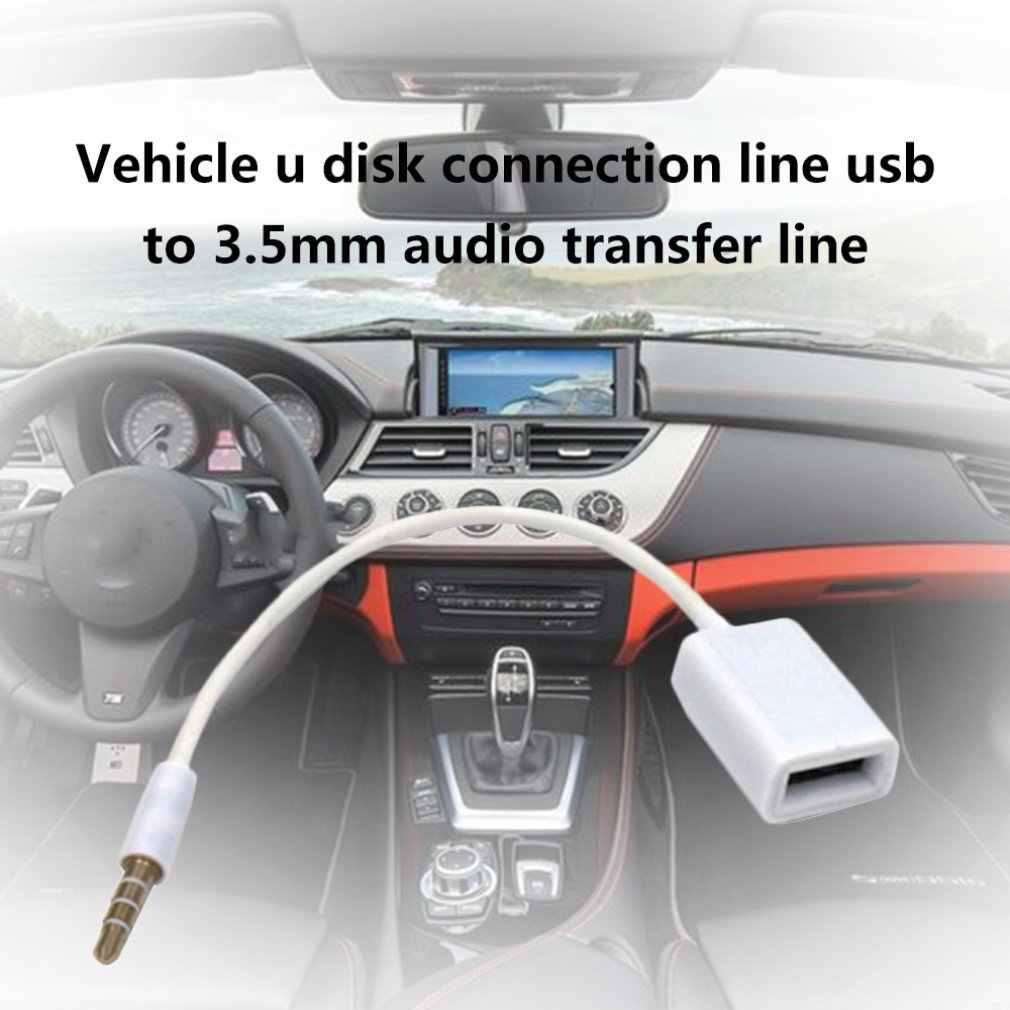 Portátil AUX a USB 3,5mm macho conector de Audio auxiliar a USB 2,0 hembra Cable convertidor solo puerto auxiliar de coche