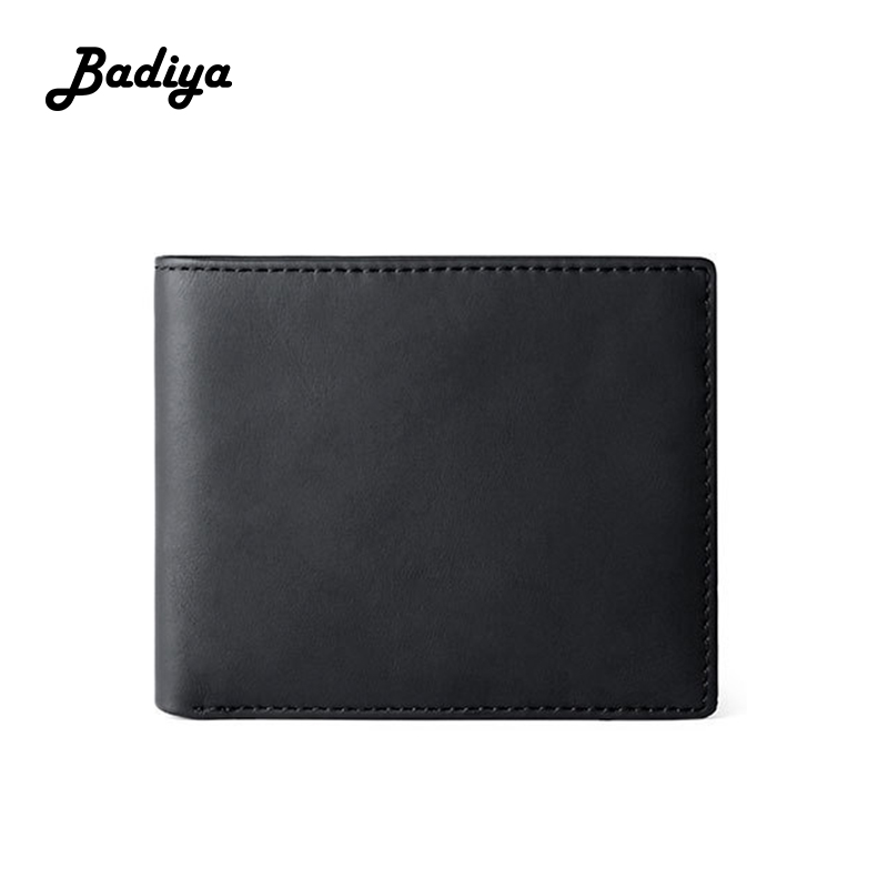 Vintage Men Wallet Genuine Leather Short Thin Slim Coin Purse Multi-card Position Business Card Holder Brief Male Clutch Bag