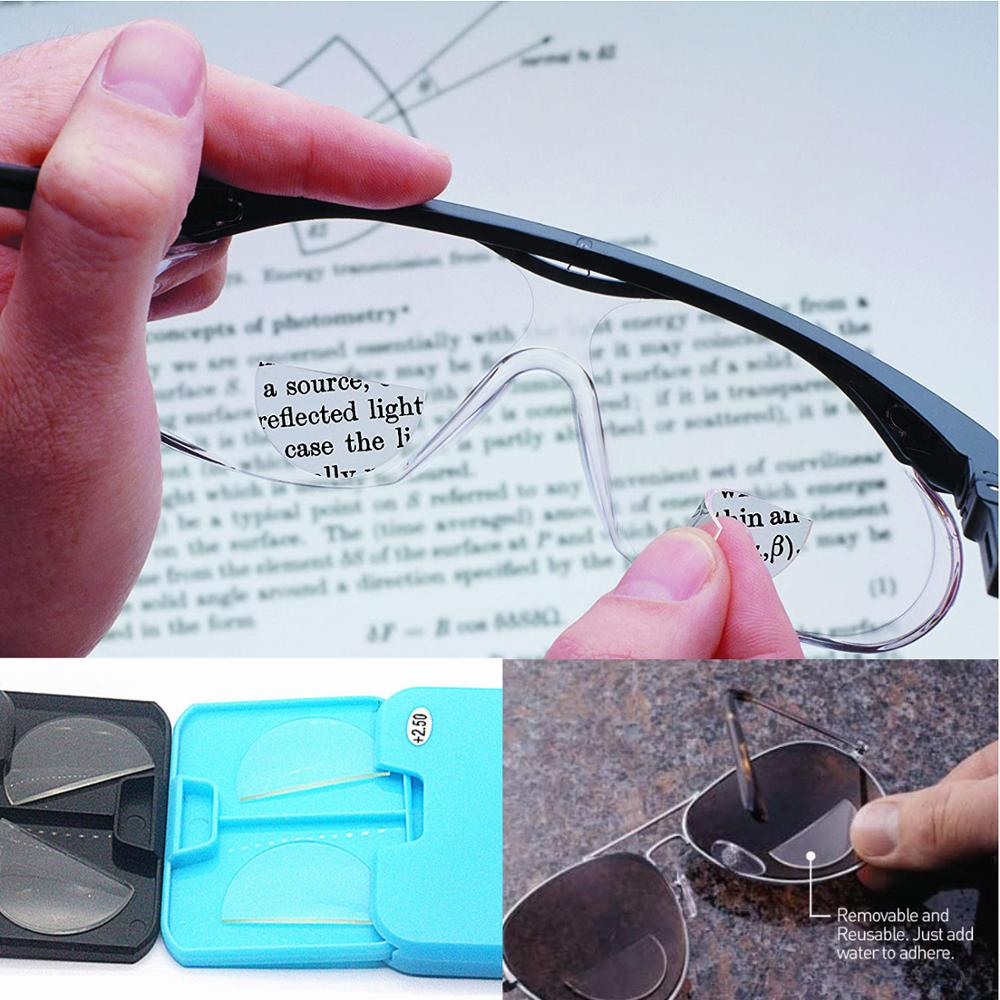2020 Liquid Silicone Bifocal Reading Lens 2 Pcs Stick-on Presbyopic Lenses Magnification Reusable Bifocal Lenses 1.0 2.0 3.0