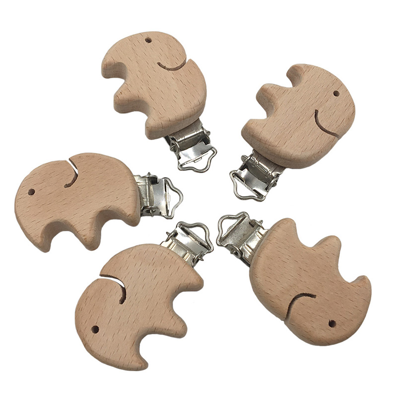 Wholesale 5PC Animals Elephant Bird Star Love Heart DIY Dummy Clip Natural Wood Beech Wood Pacifier Clip Non-Toxic Nipple Holder