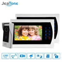 "JeaTone 4 Wire Video Intercom door phone doorbell with camera 1/3"" CMOS 1200TVL High Resolution intercom system Kit 7"" Monitor"