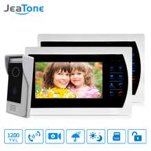 JeaTone 4 Wire Video Intercom door phone doorbell with camera 1/3 CMOS 1200TVL High Resolution intercom system Kit 7 Monitor vigtech home 7 video intercom door phone system with 1 golden monitor 1 rfid card reader hd doorbell camera free shipping