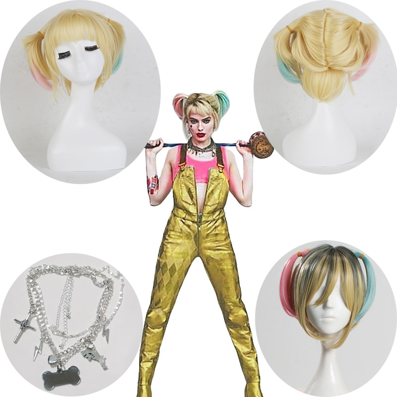 Birds Of Prey Cosplay Wig Suicide Squad Batman Harley Quinn Cosplay Costumes Short Yellow Curly Ponytails Women Christmas Gifts