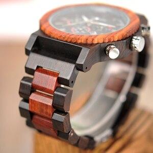 Image 5 - BOBO VOGEL 51mm Große Größe Männer Uhr Holz Luxus Chronograph Armbanduhr Qualität Quarz Bewegung Kalender Relogio Masculino J R15