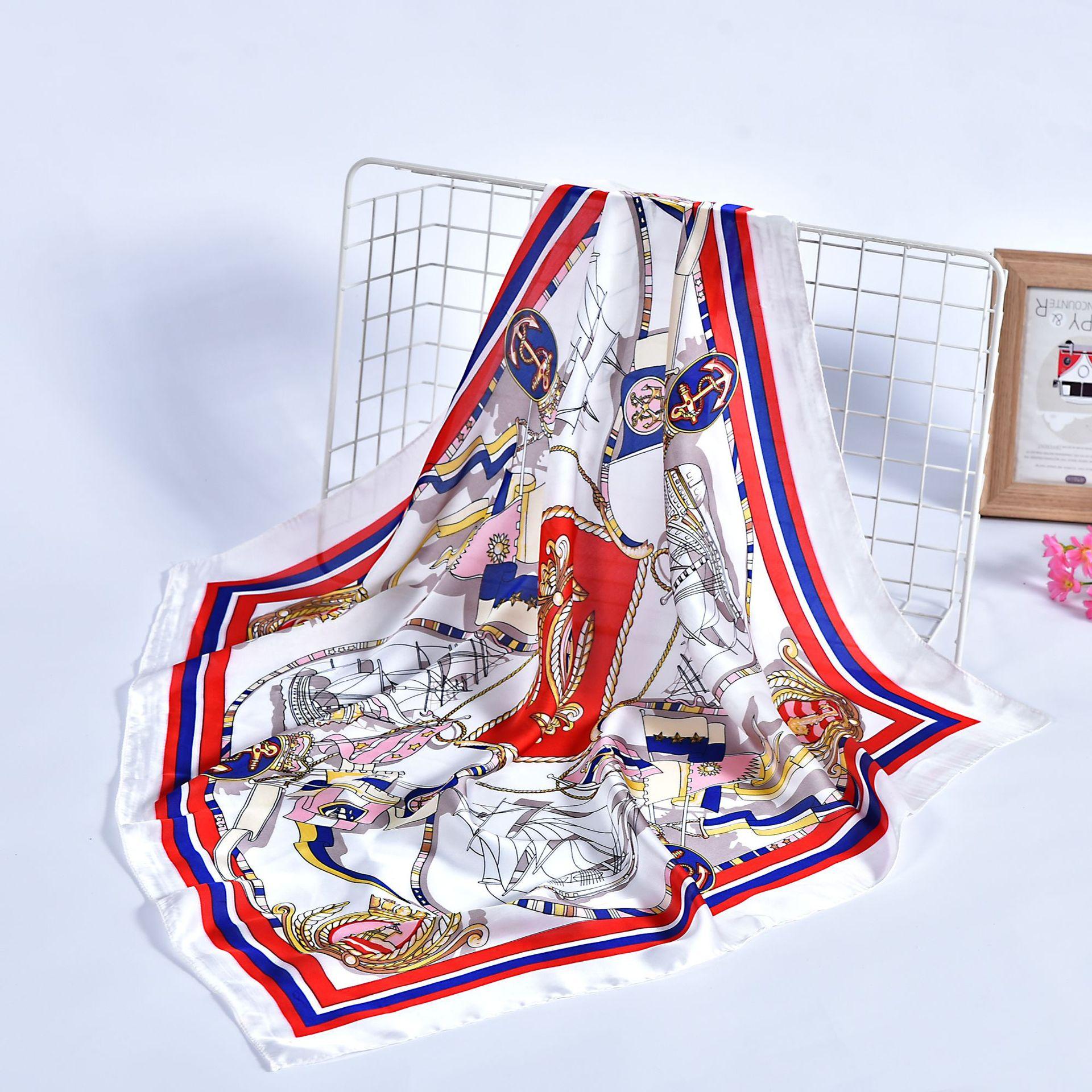 Ladies Printed Handle Bag Multifunctional Foulard Wraps Hijab Handkerchief Head Bandana Imitated Silk Muslim Square Scarf