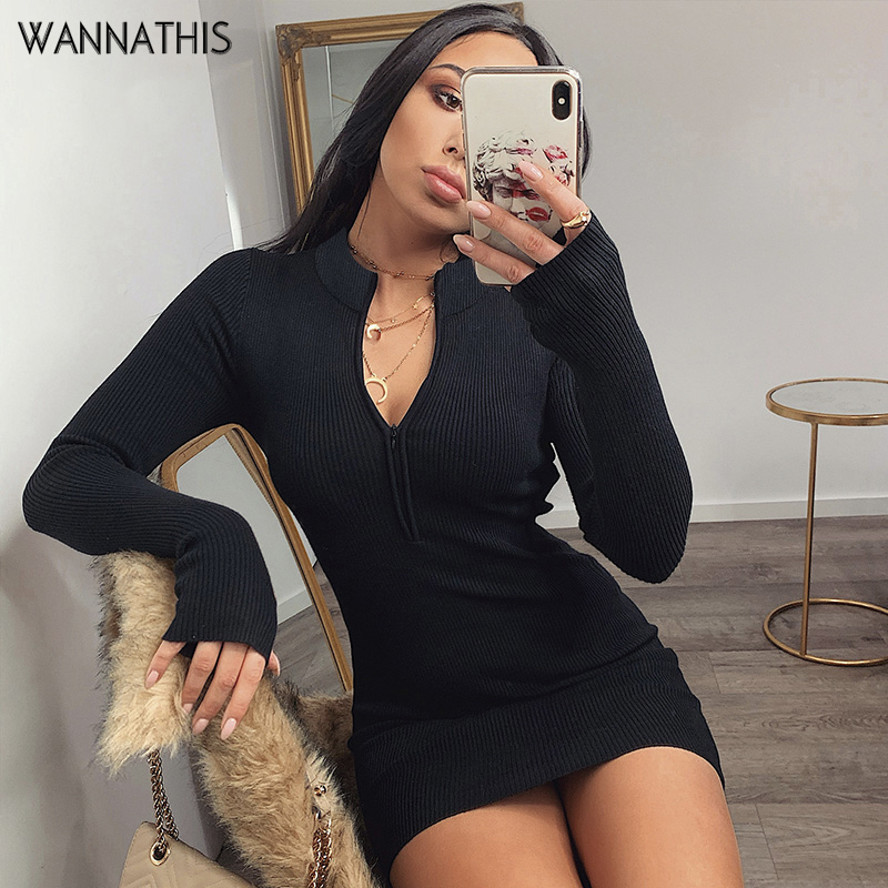 WannaThis Zipper V-Neck Bodycon Dresses Sexy Long Sleeve Black Skinny Elastic Autumn Spring New Solid Fashion Women Party Dress