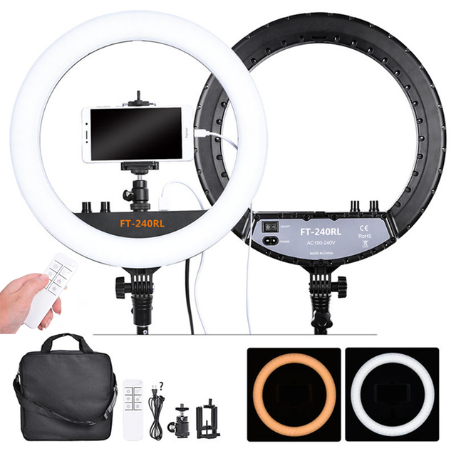 fosoto FT 240RL 14 inch Photographic Light 240 leds Ring Light 48W Ring Lamp With Remote For Camera Phone Video Photo studio