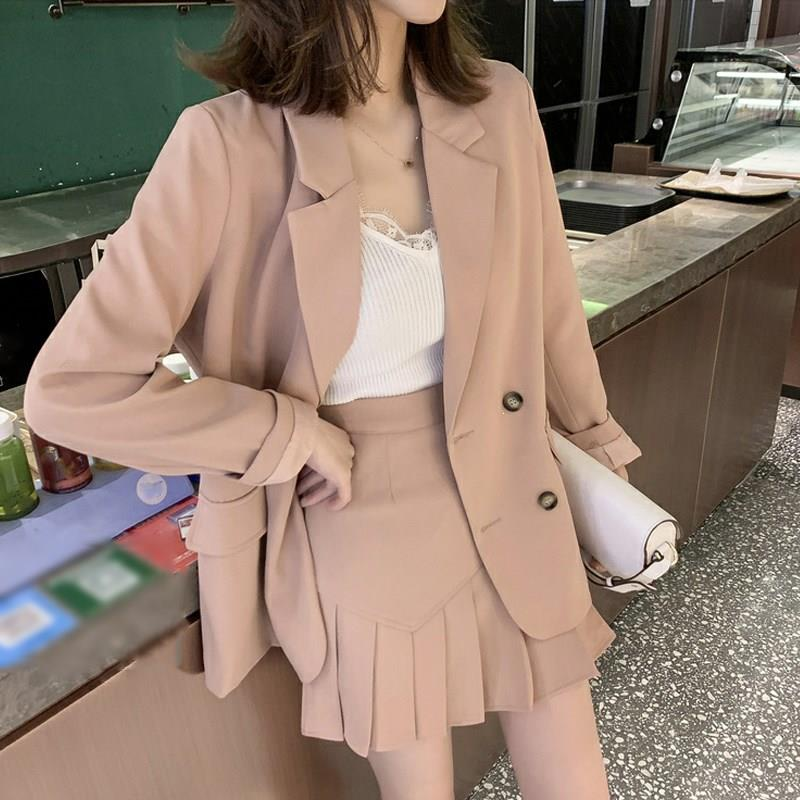 New Women Pink Office Blazer Top And Pleated Skirt Suits Casual Work Mini Skirt Sets 2 Pieces Female Suits