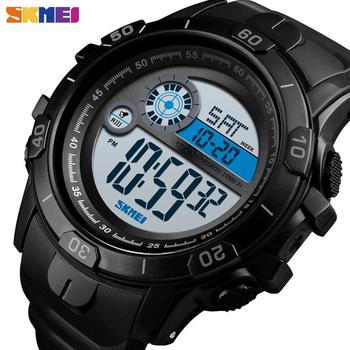 SKMEI Sport Watches For Man 2 Time Chrono Digital Wristwatches Mens Blue EL light PU Strap Clock Waterproof montre homme 1523 - discount item  45% OFF Men's Watches