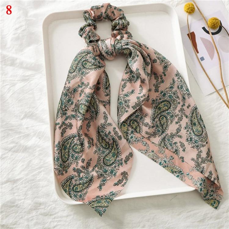 Элегантные резинки для волос с большим цветком и леопардовым принтом; эластичные резинки для волос для женщин и девочек; завязанные длинные резинки; шарф; аксессуары для волос - Цвет: A8