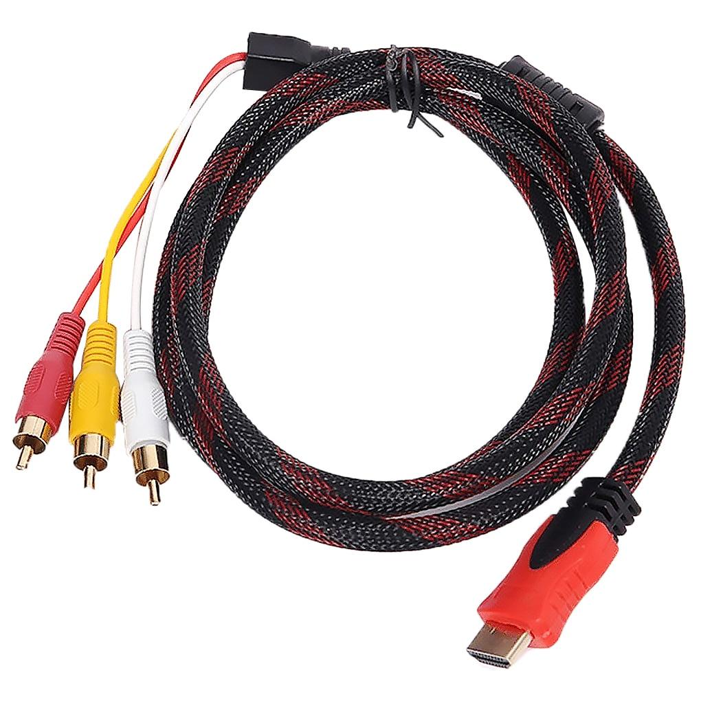 Hd macho a 3 rca áudio vídeo av componente conversor adaptador cabo hdtv 1080 p transmissor de sinal digital 3rca conector masculino