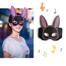 Halloween Party Rabbit Light up Mask Halloween LED Sound Activated Bunny Mask Costume Face Cover Glowing Party Mask Accessories modern pendant lights spherical design white aluminum pendant lamp restaurant bar coffee living room led hanging lamp fixture