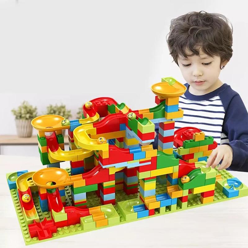 330pcs Marble Race Run Maze Track Building Blocks Bricks Set ABS Funnel Slide Assemble Small Size Blocks Toys Gift For Children
