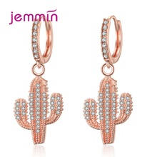 Green Color Plant Cactus Drop Earrings For Women Shinning Cubic Zirconia Party Jewelry Rhinestone Ear Rings Pendientes Mujer