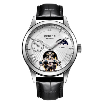 Debert 40mm Watch Men Top Luxury Brand Fashion Sport Moon Phase Watch Automatic Mechanical Wristwatch Men Leather Strap
