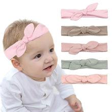 Orelhas de coelho, tiara de algodão para bebês, recém-nascido, elástica, feita à mão, ajustável, moda, acessórios para cabelo