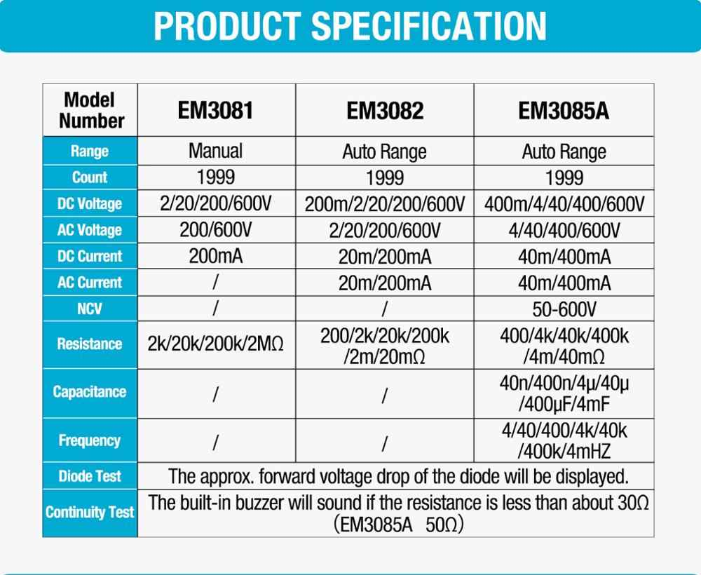 all sun all-sun EM3081 EM3082 디지털 멀티 미터 3 1/2 1999 AC/DC 전류계 전압계 옴 휴대용 측정기 전압계