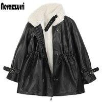 Nerazzurri Dicke warme schwarz faux leder jacke mit fell innen lange sleeve zipper Winter faux pelz gefüttert mäntel für frauen mode