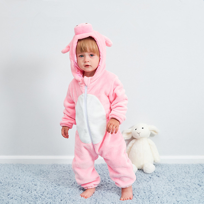 Children's Pajamas Baby Cute Pink Pig Conjoined Pajamas Autumn And Winter Warm Flannel Baby Onesies Children's Romper