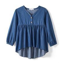 все цены на CupofSweet Denim Button-Neck Ruffled Hi-low Hem Girls Tops Tunic Children Autumn Long Sleeves Kid Shirt Casual Girl Top Blouses онлайн