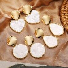 Modyle nuovi orecchini coreani geometrici per donna grande cuore tondo orecchini pendenti in oro moda natalizia gioielli bohémien