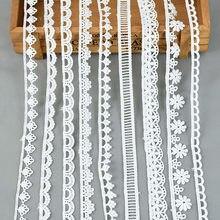 5Yards/lot Weiß Baumwolle Bestickt Spitze Trim Bänder Stoff DIY Nähen Handgemachte Handwerk Materialien Garment Kleidung Zubehör