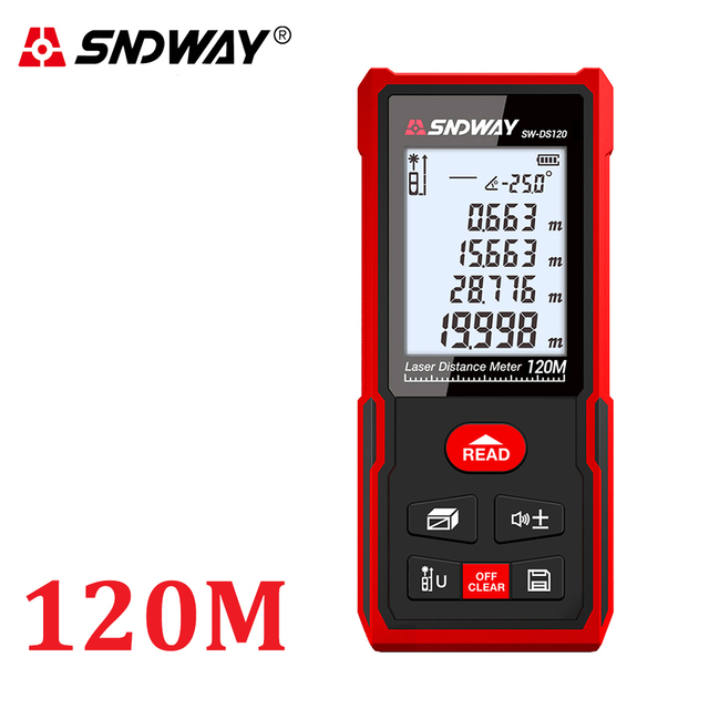 SNDWAY Digital Laser rangefinder distance meter ruler 40M 50M 60M 70M 80M 100M 120M trena finder tape range finder tester Tool