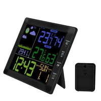 TS 8210 bk Multifunctional Wireless Color Screen Weather Forecast Clock Temperature And Humidity Meter Sound Control Clock