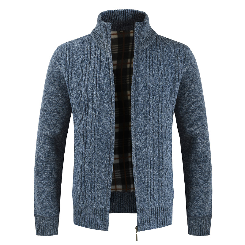 Zip Up Knitted Sweater Cardigan Stand Collar Men Sweater Coat men clothing Sweater Jacket Vintage Knitwear Tops Autumn Cardigan