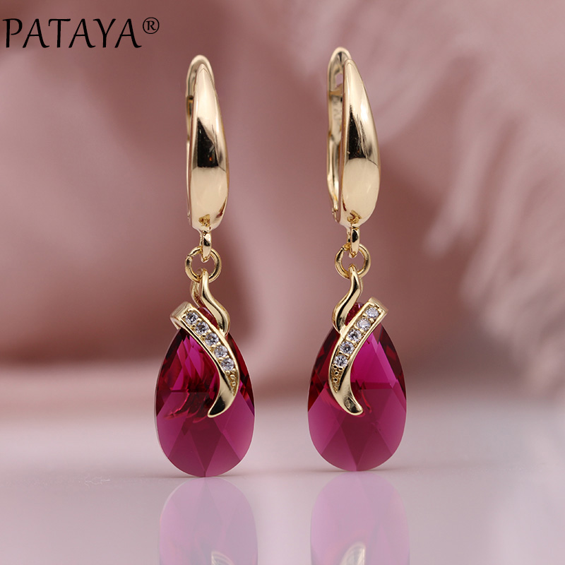 PATAYA New Austria Crystal Long Earrings 585 Rose Gold Water Drop Dangle Earrings Natural Zircon Women Gradient Fashion Jewelry