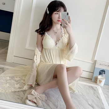 цена на Sexy Women White Yellow Mesh Robe & Gown Sets Kimono Lingerie with Robe Pajama Dress Wedding Nighty Sleepwear Modal Nightdress
