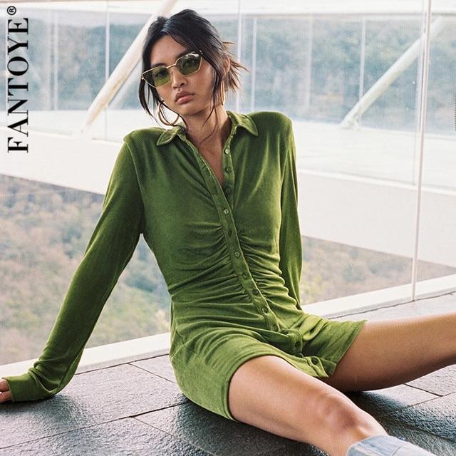 FANTOYE Pleated Turn-Down Collar Button Blouse Dress Women Sexy Long Sleeve Mini Dresses Solid Streetwear Female Shirt Vestidos 2