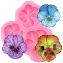 3D Pansy Flower Silicone Mold Candy Polymer Clay Mold DIY Cupcake Topper Fondant Cake Decorating Tools Chocolate Gumpaste Mould